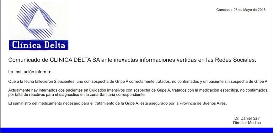 Comunicado Clinica Delta