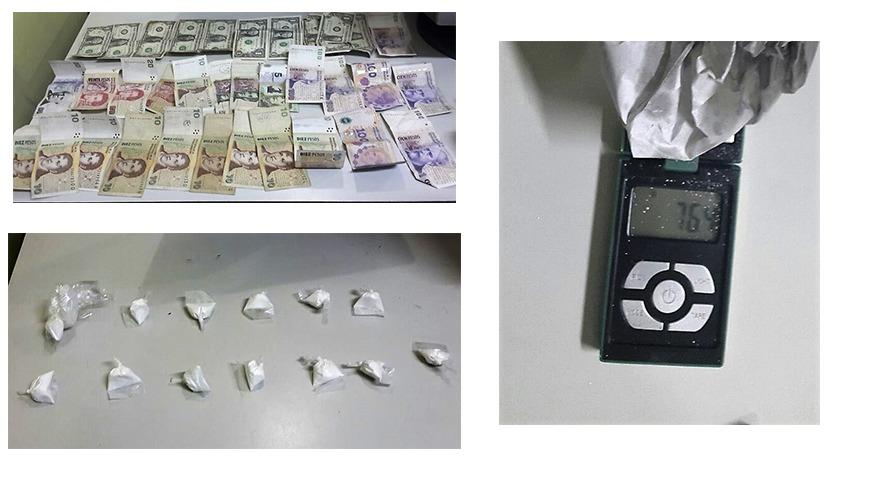 Un hombre aprehendido con cocaína y una importante suma de dinero