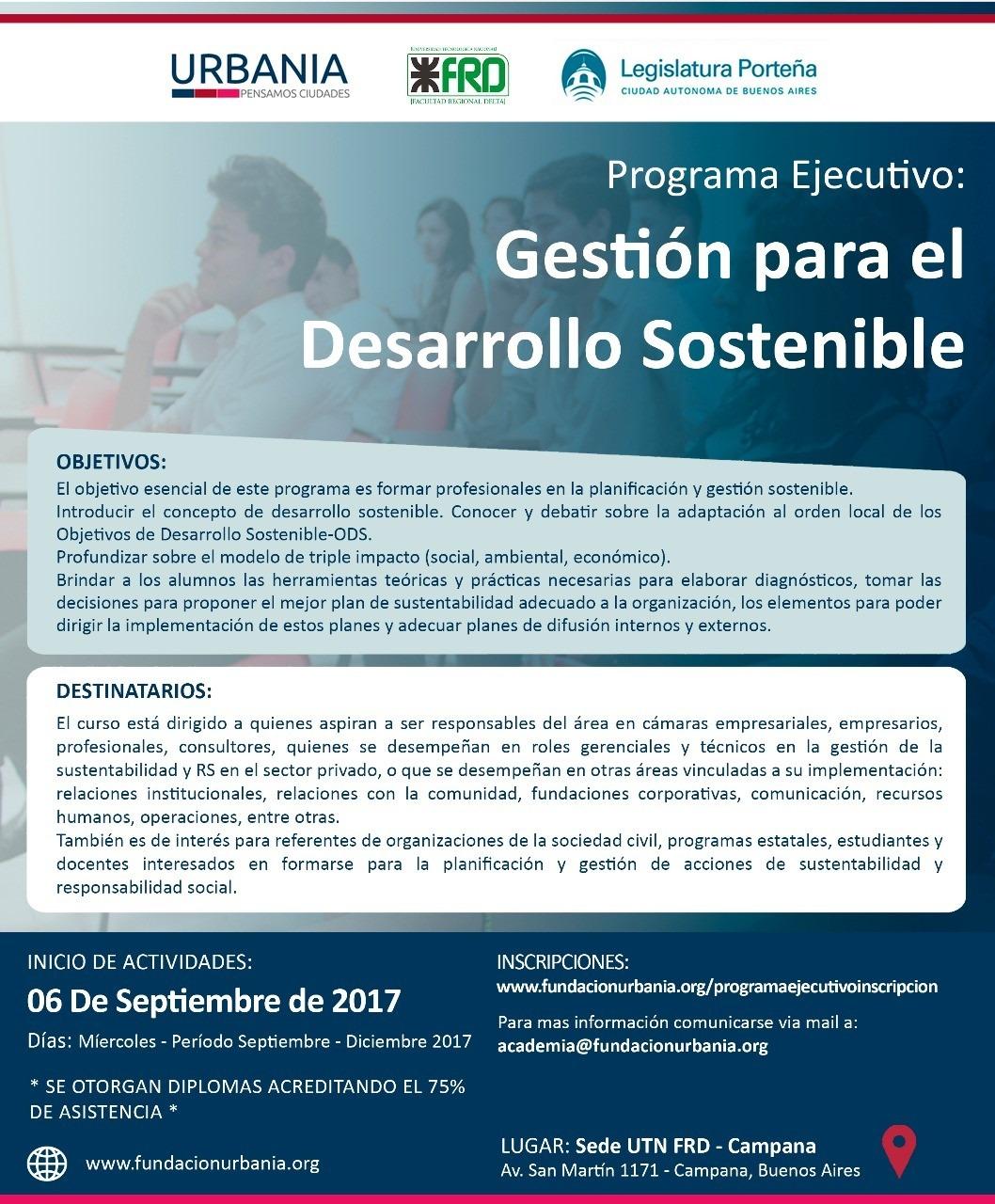 """Abierta la inscripción para el Programa Ejecutivo """"Gestión para el Desarrollo Sostenible"""" de Academia Urbania"""