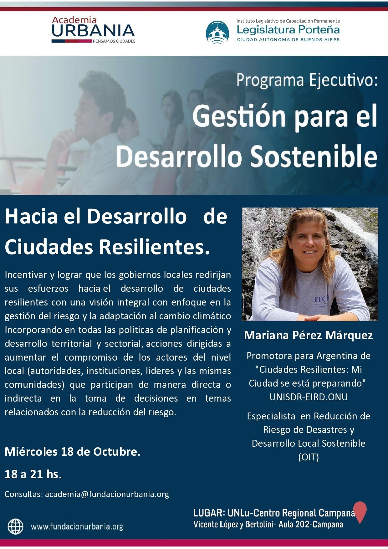 """Academia Urbania brindará  una clase gratuita sobre """"Desarrollo de Ciudades Resilientes"""""""