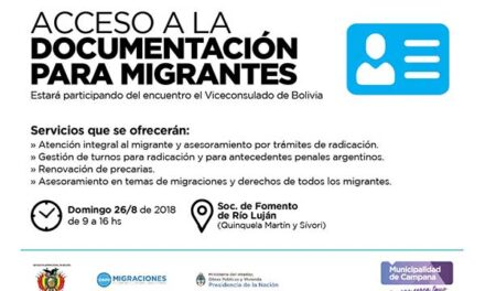 Asesorarán en Río Luján sobre el acceso a la documentación para migrantes