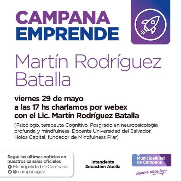 "Mañana se presenta la segunda charla de ""Campana emprende"""