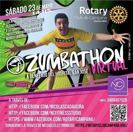 Rotary Club Campana junto a NC FITNESS STUDIO realizaran un Zumbathon Virtual