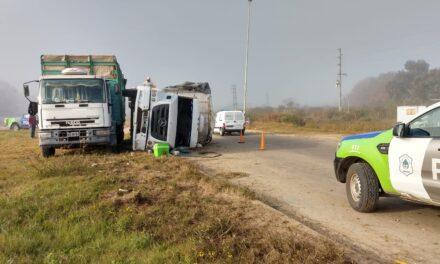 Un camión cargado con pollos volcó a la altura de la rotonda de Las Acacias