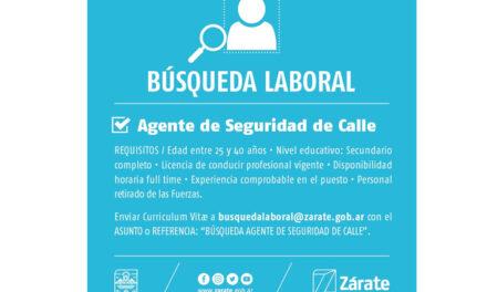 Zarate: Búsqueda laboral para Agente de Seguridad de Calle