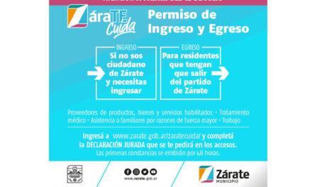 Zarate: El Municipio informa que será necesario tramitar vía online,la declaración jurada para el ingreso y egreso al Partido.