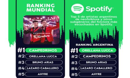 Campedrinos, primeros en el ranking de Spotify