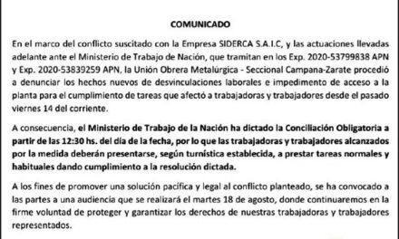 Conflicto UOM-Tenaris: dictan una nueva conciliación obligatoria