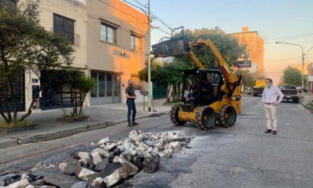 Comenzaron los trabajos de reparación en la calle 9 de Julio