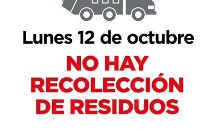 El lunes 12 no habrá recolección de residuos