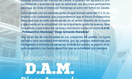 """El futuro Polideportivo Municipal de Zárate se llamará """"Diego Armando Maradona"""" en homenaje al astro del fútbol"""