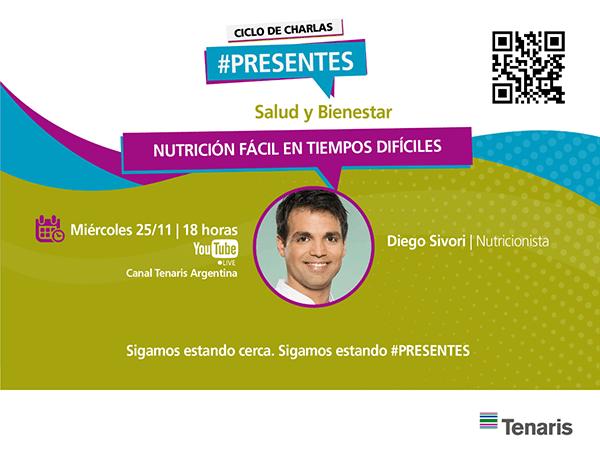 El nutricionista Diego Sívori será el nuevo invitado del Ciclo de Charlas #Presentes de Tenaris