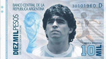 La campaña para que salga el billete de Maradona
