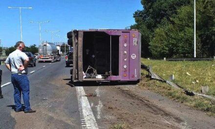 Una mala maniobra provocó el vuelco de un camión recolector