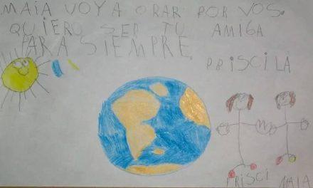 """La emotiva carta para M de parte de una nena entrerriana: """"Voy a orar por vos, quiero ser tu amiga"""""""