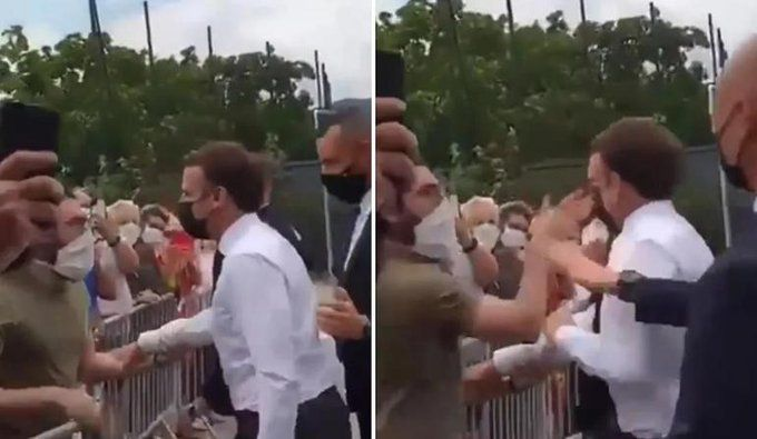 Un manifestante golpeó a Emmanuel Macron durante su gira por el interior