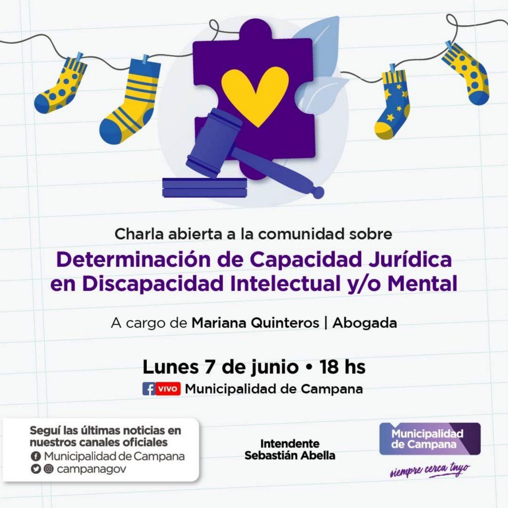 """Este lunes habrá una charla virtual sobre """"Determinación de Capacidad Jurídica en Discapacidad Intelectual y/o Mental"""""""