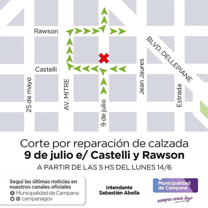 Cierran temporalmente el tránsito en la calle 9 de Julio para reparar la calzada