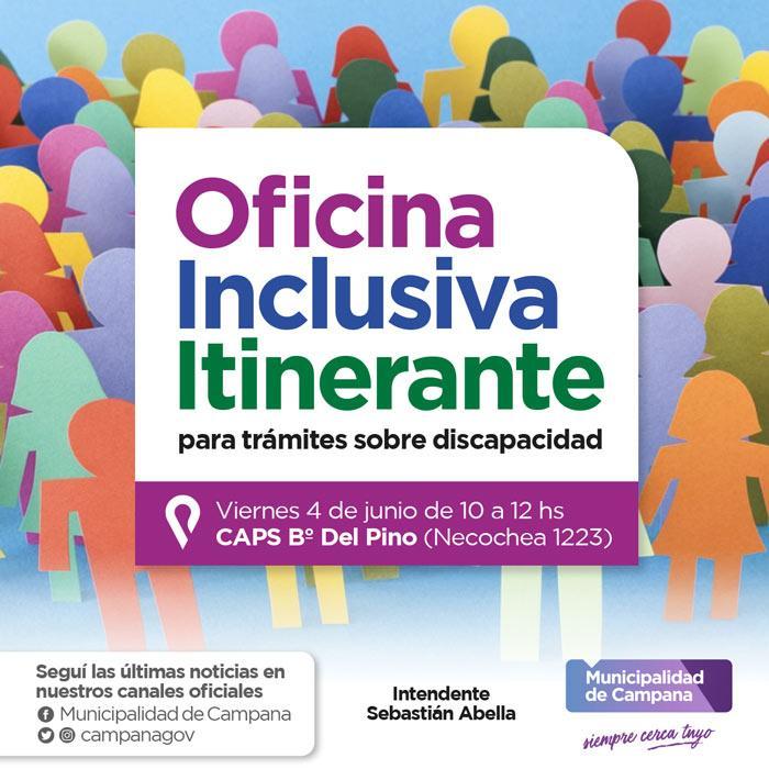 La oficina inclusiva itinerante llegará este viernes al barrio Del Pino