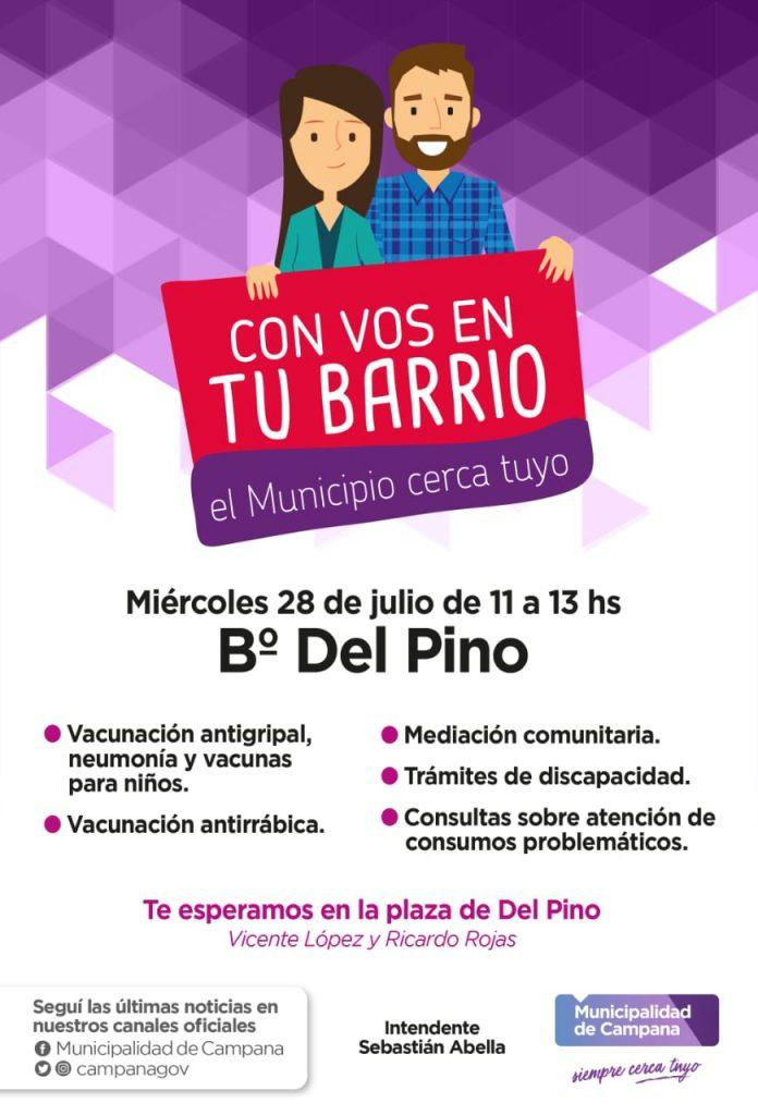 """""""Con vos en tu barrio"""" llega este miércoles al barrio Del Pino"""