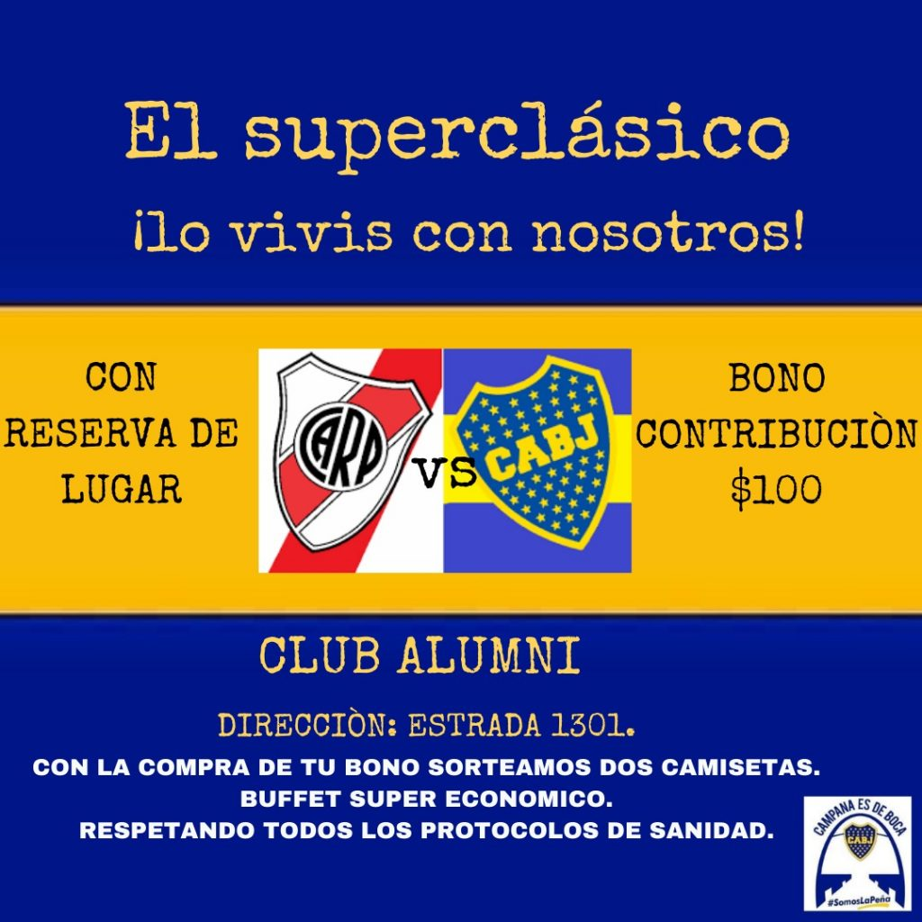 """""""Campana es de Boca"""" te invita a vivir el superclásico en el Club Alumni"""
